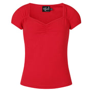 Hell Bunny Mia Top - Red on invisible mannequin