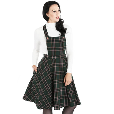 Hell Bunny Miles Tartan Pinafore Dress - Green - model - front