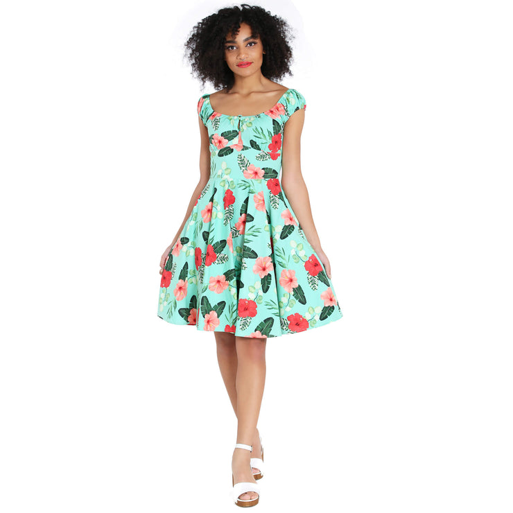 Hell Bunny Moana Hawaiian Mid Dress - model front