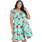Hell Bunny Moana Hawaiian Mid Dress - plus model front