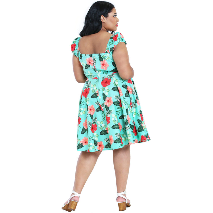 Hell Bunny Moana Hawaiian Mid Dress - plus model back