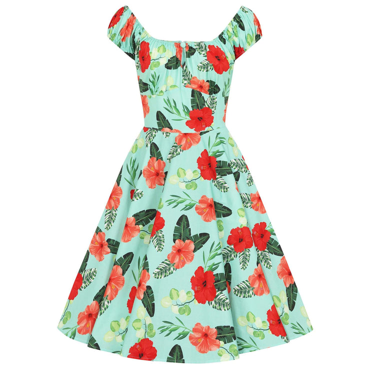 Hell Bunny Moana Hawaiian Mid Dress -invisible mannequin - front