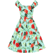 Hell Bunny Moana Hawaiian Mid Dress -invisible mannequin - back
