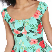 Hell Bunny Moana Hawaiian Mid Dress - model front - close up