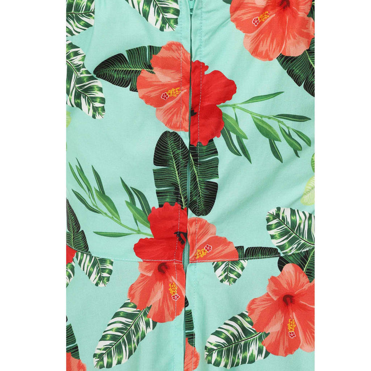 Hell Bunny Moana Hawaiian Mid Dress - back zip