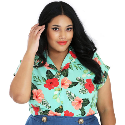 Hell Bunny Moana Floral Shirt - plus model front