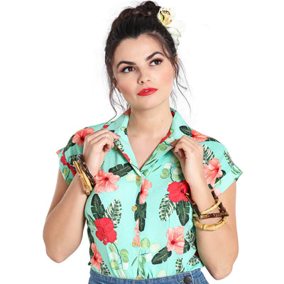 Hell Bunny Moana Floral Shirt - model front