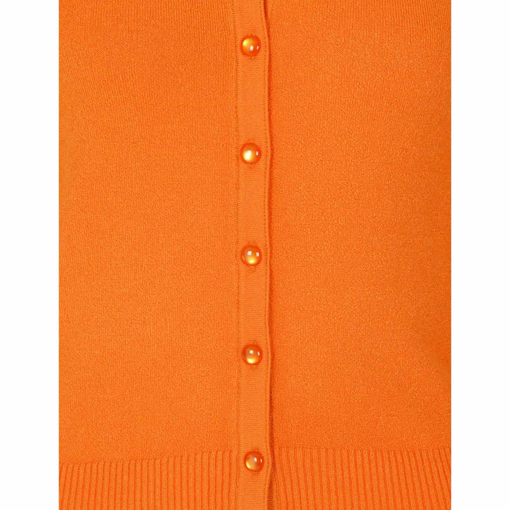 Hell Bunny Paloma Cropped Cardigan - Orange close up