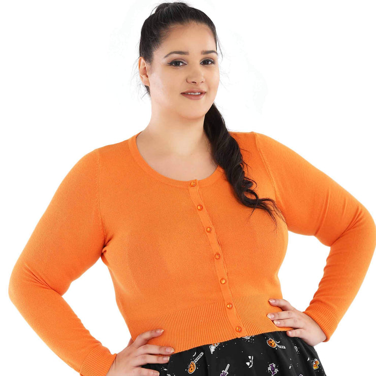 Hell Bunny Paloma Cropped Cardigan - Orange - plus model front