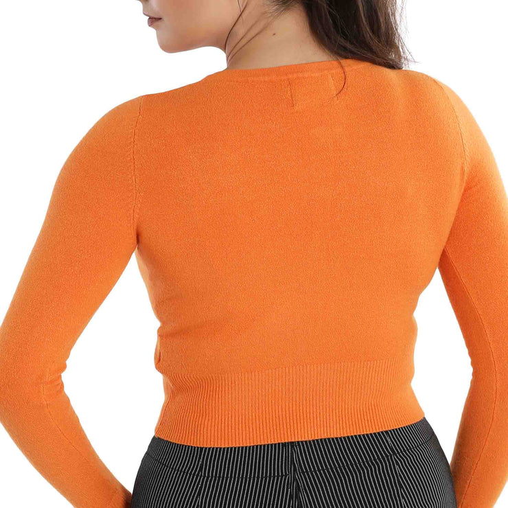 Hell Bunny Paloma Cropped Cardigan - Orange - standard model back