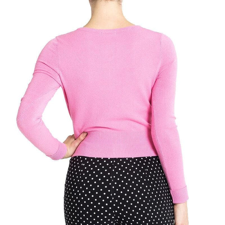 Image of Hell Bunny Paloma Cropped Cardigan - Candy Pink