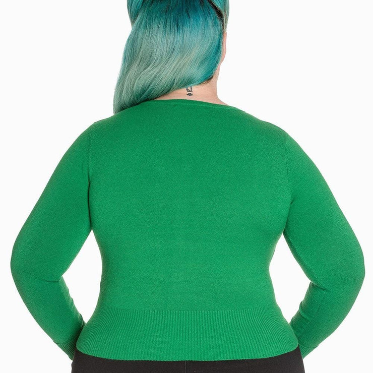 Image of Hell Bunny Paloma Cropped Cardigan - Green