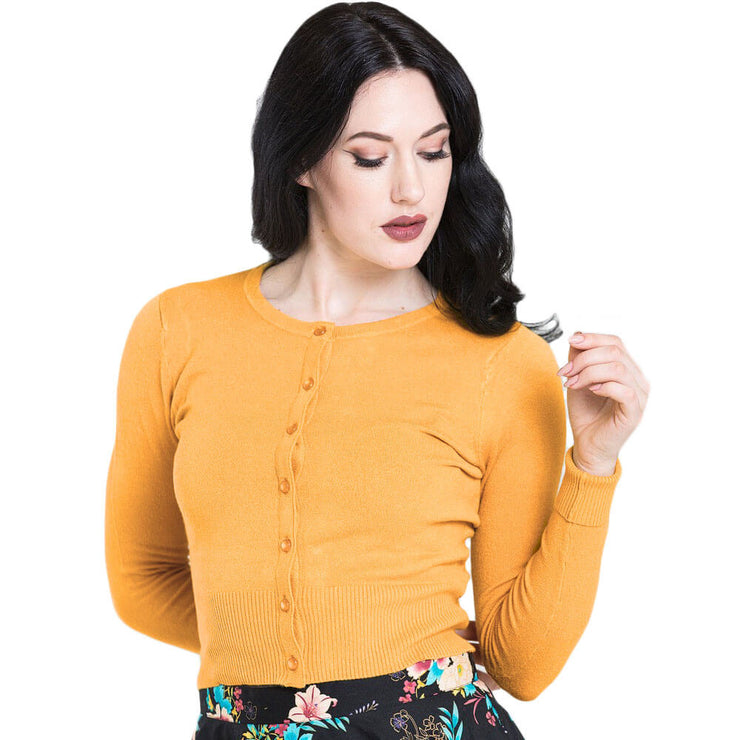 Hell Bunny Paloma Cropped Cardigan - Mustard front