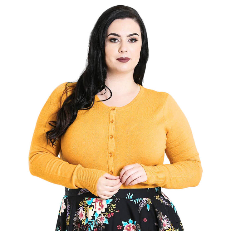 Hell Bunny Paloma Cropped Cardigan - Mustard plus front
