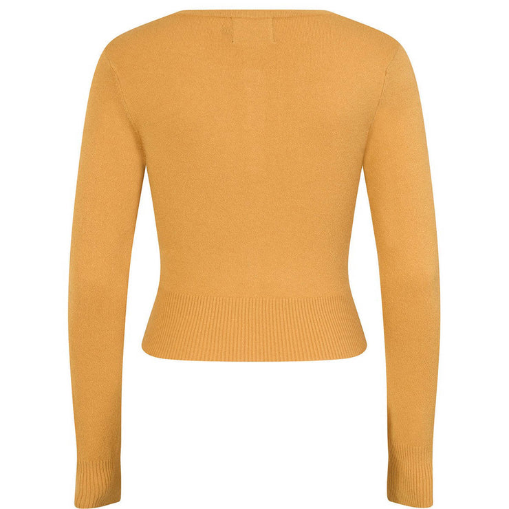 Hell Bunny Paloma Cropped Cardigan - Mustard invisible mannequin back