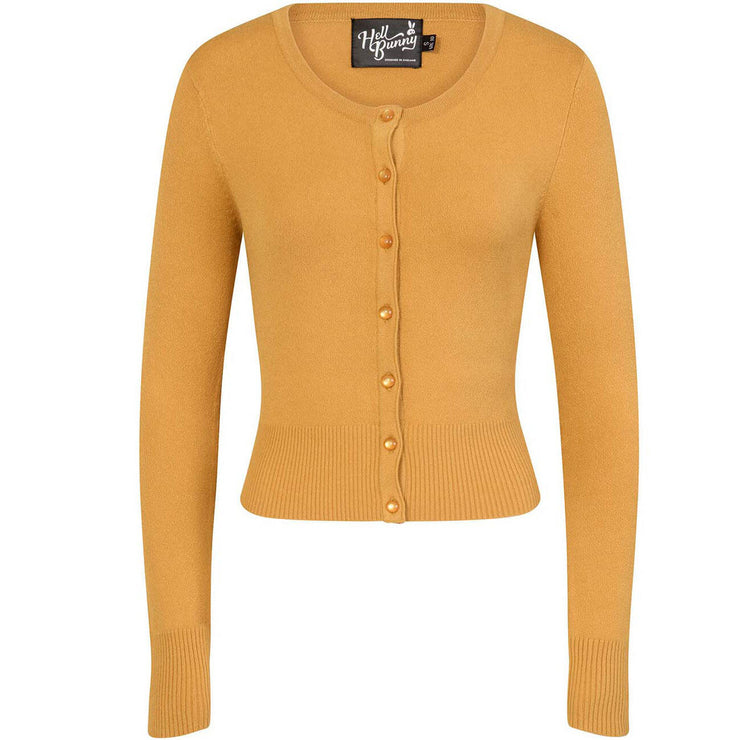 Hell Bunny Paloma Cropped Cardigan - Mustard invisible mannequin front