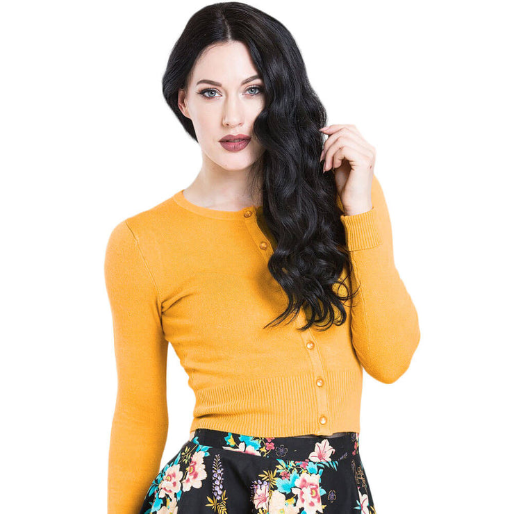 Hell Bunny Paloma Cropped Cardigan - Mustard - front