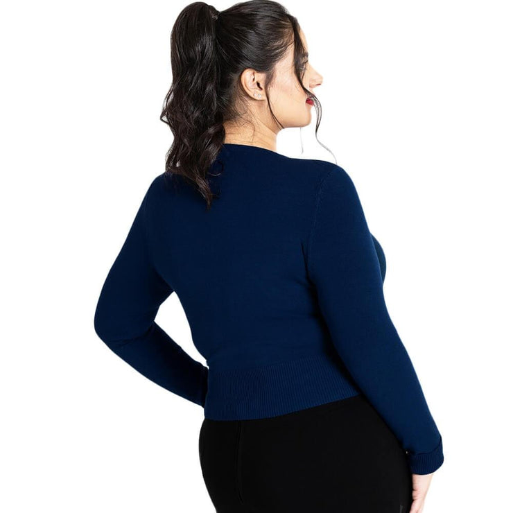 Image of Hell Bunny Paloma Cropped Cardigan - Navy Blue