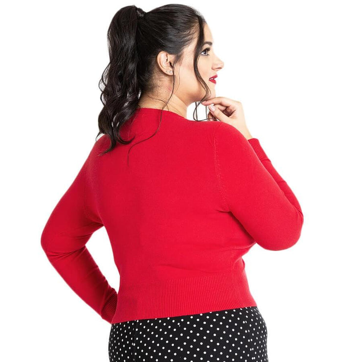Image of Hell Bunny Paloma Cropped Cardigan - Red