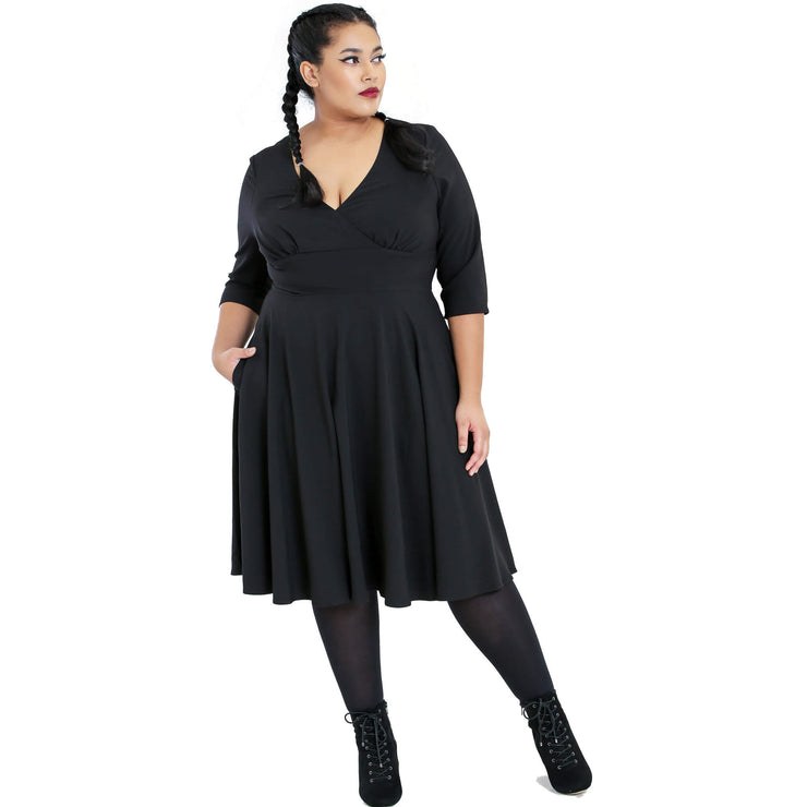 Hell Bunny Patricia 50's Dress - Black - plus model front