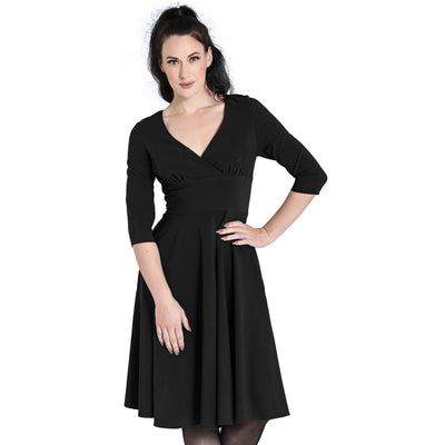 Hell Bunny Patricia 50's Dress - Black - model front