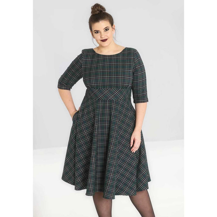 Hell Bunny Peebles Tartan 50's Dress - Green - plus