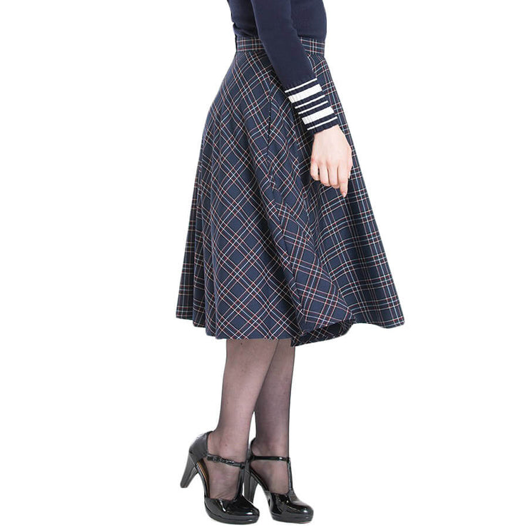 side image 1 Hell Bunny Peebles Tartan 50's Skirt Navy