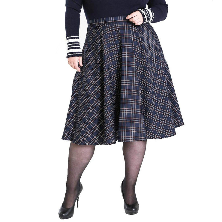 Plus size model image Hell Bunny Peebles Tartan 50's Skirt Navy
