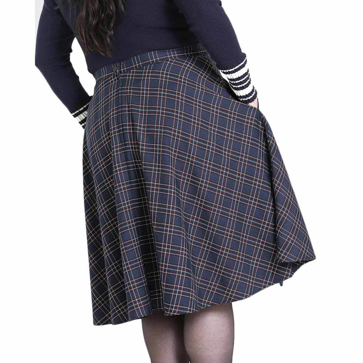 back image plus size Hell Bunny Peebles Tartan 50's Skirt Navy