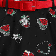 Hell Bunny Petals 50's Skirt -close up of belt and fabric
