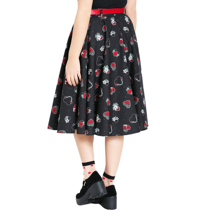 Hell Bunny Petals 50's Skirt - model back