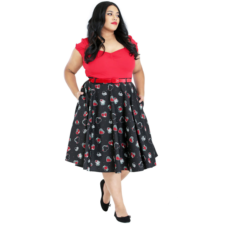 Hell Bunny Petals 50's Skirt - plus model front