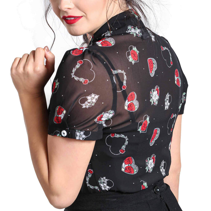 Hell Bunny Petals Hearts & Roses Top plus model back side and back