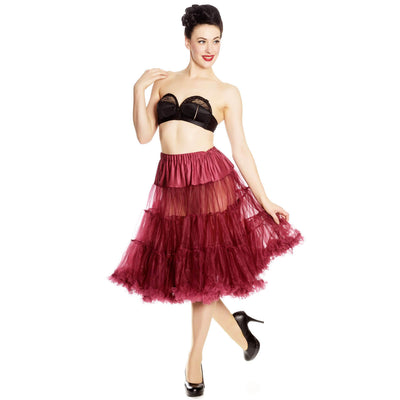 Hell Bunny 50s Petticoat - Long Below Knee - Burgundy