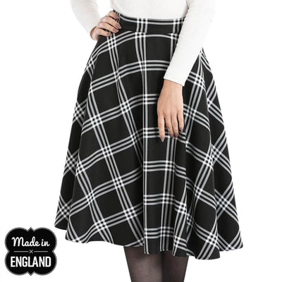Hell Bunny Piper Tartan 50's Skirt - Black/White - model - front