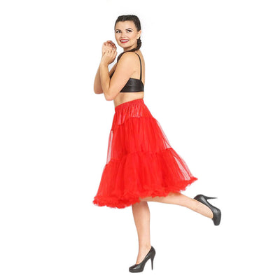 Hell Bunny Polly Petticoat - Long Below Knee - Red model side