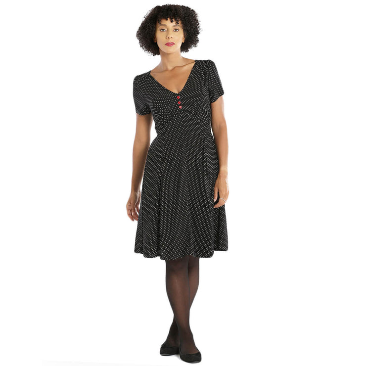 Hell Bunny Sophia Polka Dot 50's Mid Dress standard model front