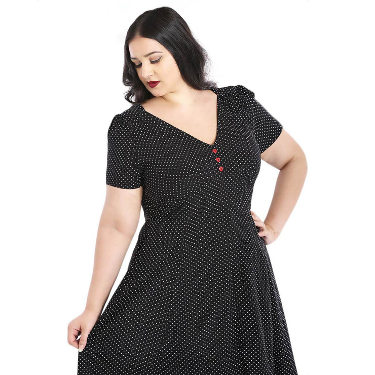 Hell Bunny Sophia Polka Dot 40's Mid Dress plus front cropped