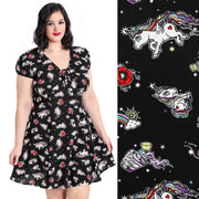 Hell Bunny Star Catcher Unicorn Mini Dress - plus model front