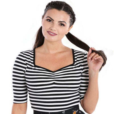 Hell Bunny Warlock Striped Top - Black/White - model front