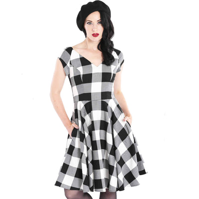 Hell Bunny Plaid Teen Spirit Dress - Black/White front cropped