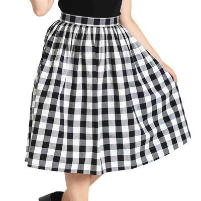Hell Bunny Victorine Gingham 50's Skirt - model cropped