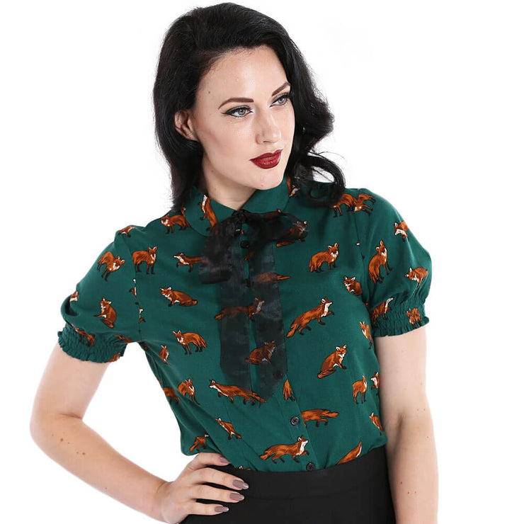 Hell Bunny Vixey Fox Top - Green - front