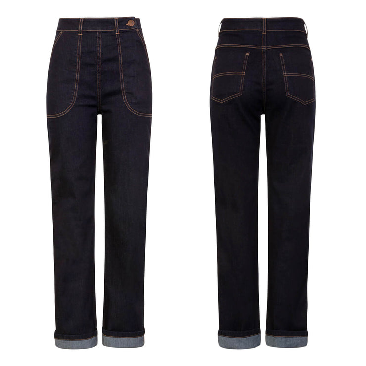 Image of Hell Bunny Weston Denim Jeans - Navy Blue