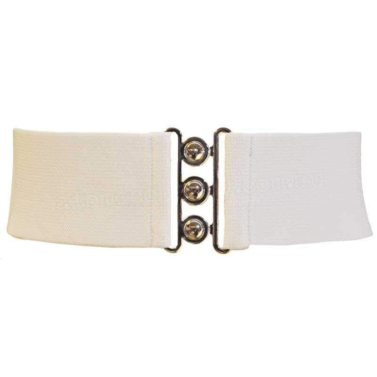 Hell Bunny Elastic Waist Cinch Belt - White