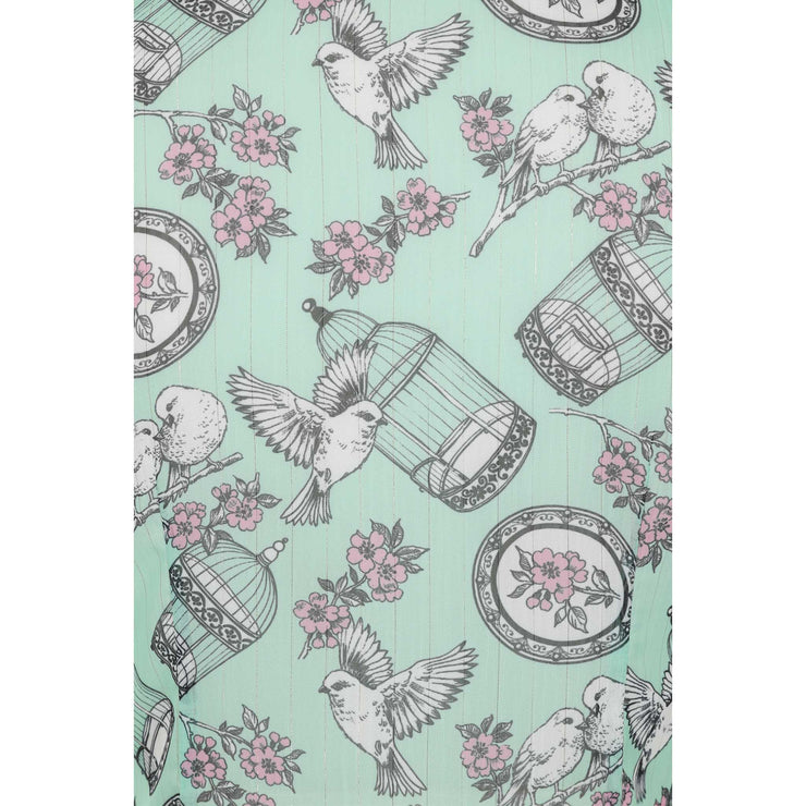 Hell Bunny Willow Birdcage Top - Mint - fabric
