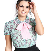 Hell Bunny Willow Birdcage Top - Mint - model front