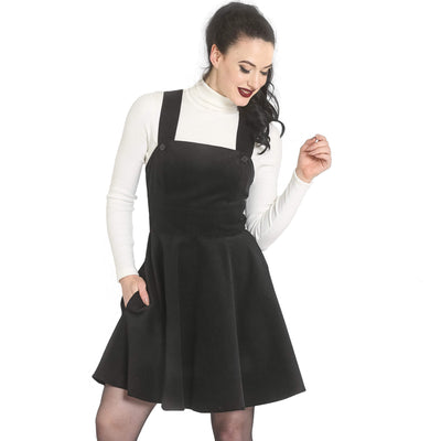 Hell Bunny Wonder Years Pinafore Dress - Black model front