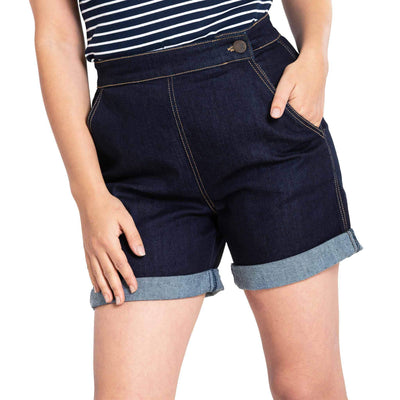 Image of Hell Bunny Yaz Denim Shorts - Navy Blue - standard model - front cropped