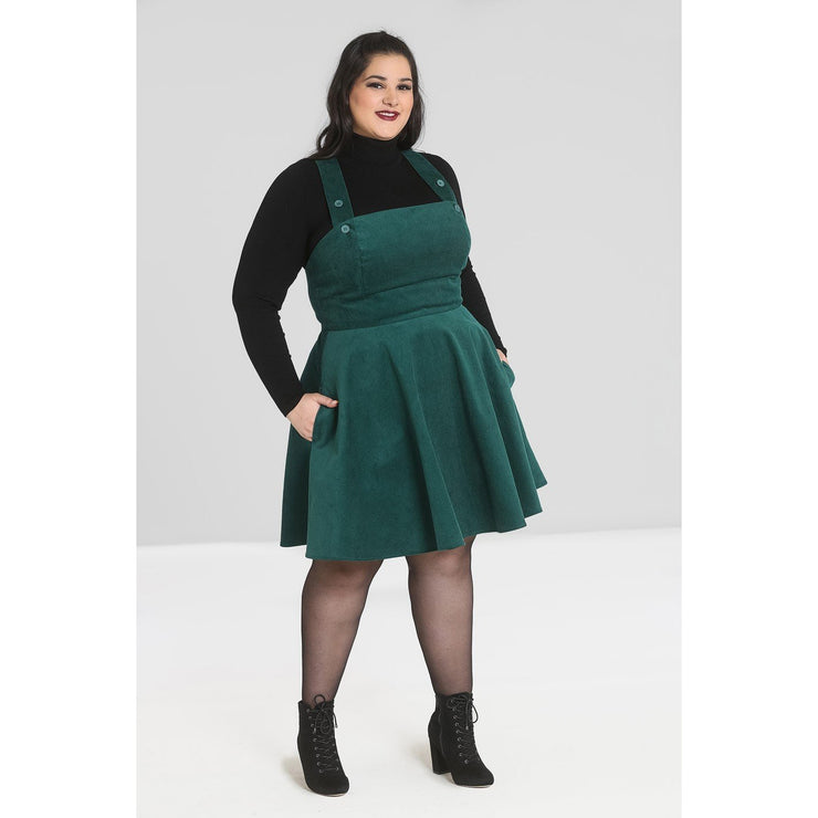 Image of Hell Bunny Wonder Years Pinafore on plus size model - front